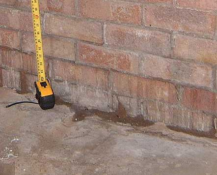 Dampness in floor to wall joint