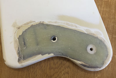 Rudder foil head repaired using Rebuild Resin